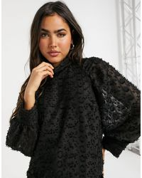 Y.A.S Textured Blouse With High Neck And Volume Sleeves - Black
