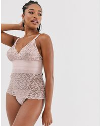 Tutti Rouge Rougette Eliza Lace Skirted Bodysuit With Polka Dot Mesh - Natural
