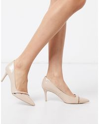 Call It Spring Stellas Pointed Mid Heel Court Shoes - Natural