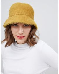 e9ee4e1b8012a ASOS Fluffy Bucket Hat in Pink - Lyst