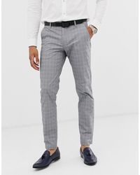 Ted Baker Slim Fit Trouser With Grey Check - Gray