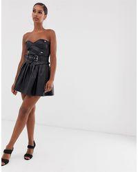 Lioness High Life Pu Pleated Mini Skirt - Black