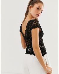 Stradivarius All-over Lace T-shirt - Black