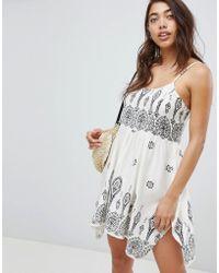 ASOS Bandana Print Placement Hanky Hem Beach Dress - Multicolour