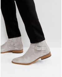 House Of Hounds - Adrian Suede Buckle Boots In Grey - Lyst