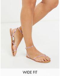 ASOS Wide Fit Farnborough Minimal Toe Loop Flat Sandals - Pink