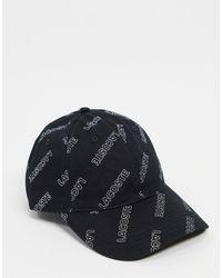 Lacoste Кепка Со Сплошным Принтом -черный Цвет