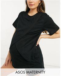 ASOS - Camiseta de pijama negra para lactancia Mix & Match de ASOS DESIGN Maternity - Lyst