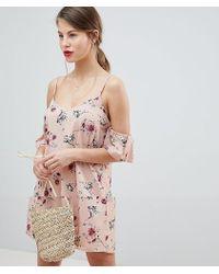 Vila - Floral Cold Shoulder Dress - Lyst