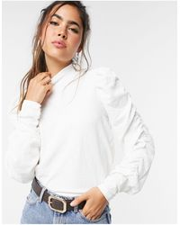 Vero Moda Top with high neck and gathered sleeves - Bianco