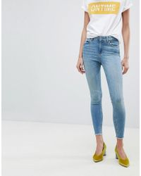 Pieces - Cropped Mid Rise Skinny Jean - Lyst