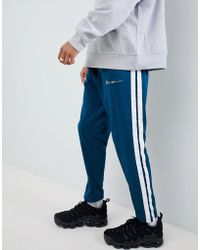 Mennace - Skinny Joggers With Taping In Teal - Lyst