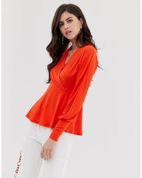 Y.A.S V Neck Wrap Top - Orange