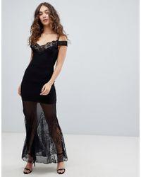 6ba93e00af46c0 Girls On Film - Bardot Maxi Dress With Mesh Panels - Lyst