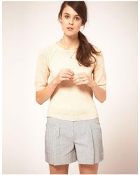 NW3 by Hobbs Muti Fleck Sweater With Zip Back Detail - Natural