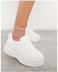 TOPSHOP Lace Up Flatform Sneakers - White