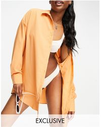 Missguided Cheesecloth Beach Shirt - Orange