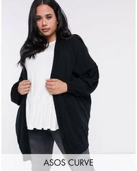 ASOS Asos Design Curve Longline Fine Knit Cardigan - Black