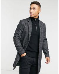 Jack & Jones Серое Пальто С Узором Premium-серый - Черный