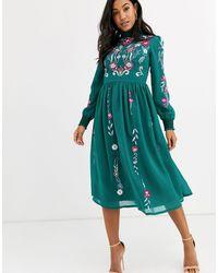 Frock and Frill Платье Миди С Длинными Рукавами И Вышивкой Frock & Frill-зеленый