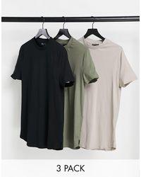 ASOS Longline-T-Shirt mit seitlichen Schlitzen im 3er-Pack - Mehrfarbig