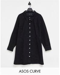 ASOS - Vestido camisero negro - Lyst