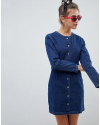 2888c4f7db Lyst - ASOS Denim Shirt Dress With Patch Pocket In Light Mid Wash in ...