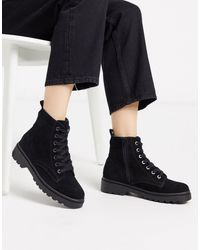 TOPSHOP Lace Up Ankle Boots - Black