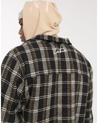 The Couture Club Zipped Front Checked Overshirt - Black