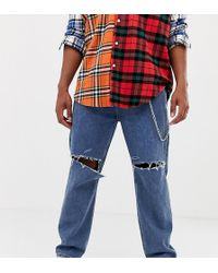 Collusion X005 Straight Leg Jean In Classic Blue Mid Wash With Rips