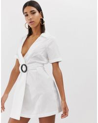 Fashion Union - Wrap Shirt Dress With Wooden Ring Detail - Lyst
