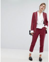 Sister Jane | Dogtooth Trousers With Frill | Lyst