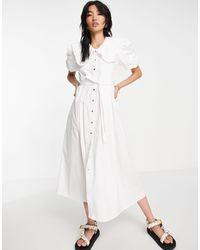 River Island Белое Поплиновое Платье Макси С Большим Воротником -белый
