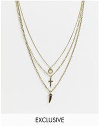 Reclaimed (vintage) Ожерелье В Несколько Рядов Цвета Выцветшего Серебра С Камнем И Крестом Inspired-серебристый - Металлик