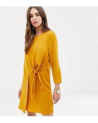 ASOS - Asos Design Tall Knot Front Mini Shift Dress - Lyst