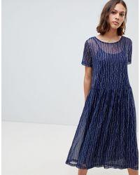 Ichi Платье С Принтом -темно-синий