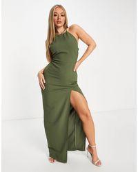 Vesper Платье Макси Цвета Хаки С Завязкой Вокруг Шеи И Разрезом Вдоль Бедра -зеленый