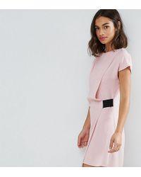 ASOS | Drape Front Mini Dress With Elastic Detail | Lyst