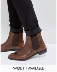 ASOS - Chelsea Boots In Leather - Wide Fit Available - Lyst