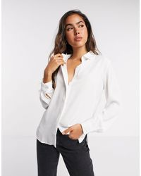 Mango Button Front Shirt - White