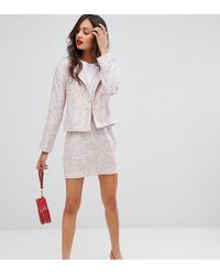 UNIQUE21 Super Mini Skirt In Tweed Co-ord - Pink
