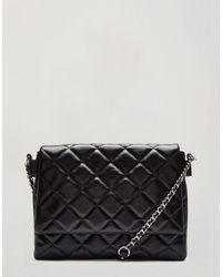 Miss Selfridge Patent Quilted Shoulder Bag - Black