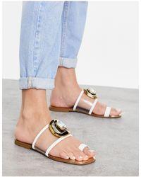 River Island Gem Plate Toe Thong Sandal - White