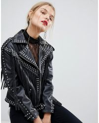 Mango - Stud And Fringe Faux Leather Jacket - Lyst