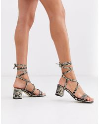 Missguided Faux Snake Lace Up Sandals - Multicolour