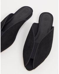 ASOS Lido Peep Toe Ballet Flats - Black