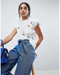 B.Young - High Neck Embroidered Blouse - Lyst