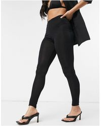 Fashionkilla Черные Блестящие Леггинсы -черный