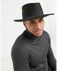 ASOS Sombrero pork pie caqui con banda negra y talla ajustable - Verde