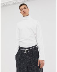 ASOS - Loose Fit Long Sleeve T-shirt With Turtle Neck In White - Lyst